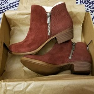 [Lucky Brand] Red Suede Ankle Booties Boots 5.5